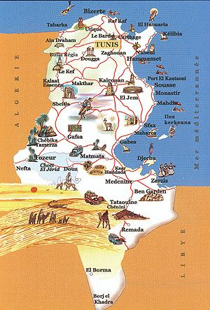Tunisie carte touristique - Office de tourisme tunisie ...